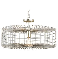 Industrial Loft Silver Leaf Iron Cage Flush Mount Pendant Light | Kathy Kuo Home