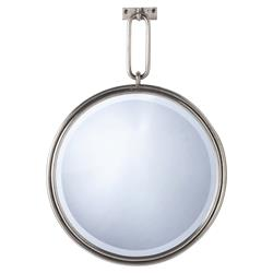 Industrial Nickel Chain Link Round Mirror | Kathy Kuo Home