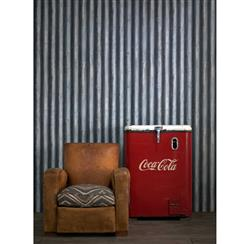 Industrial Palmer Corrugated Steel Wallpaper - Steel | Kathy Kuo Home