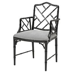 Infinity Modern Classic Black Dixon Patterned Dining Arm Chair | Kathy Kuo Home