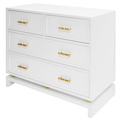 Inge Hollywood Regency White Gold 4 Drawer Chest | Kathy Kuo Home