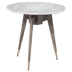 Interlude Bijou Industrial Marble Grey Oak Brushed Nickel Round Side End Table | Kathy Kuo Home