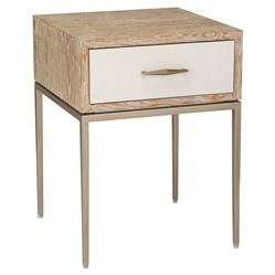 Interlude Corinna Modern Whitewash Oak Wood Champagne Silver Metal Nightstand | Kathy Kuo Home