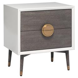 Interlude Desire Mid Century White Grey Oak Wood Gold Brushed Brass Nightstand | Kathy Kuo Home