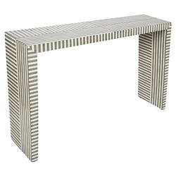 Interlude Felicity Global Grey White Bone Resin Rectangular Console Table | Kathy Kuo Home