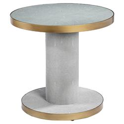 Interlude Gabriel Grey Shagreen Gold Antique Brass Glass Round Side End Table | Kathy Kuo Home