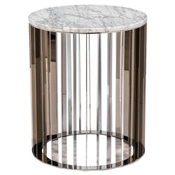 Interlude Greer Modern White Marble Stainless Steel Round Side End Table | Kathy Kuo Home