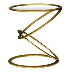 Interlude Mobius Contemporary Gold Leaf End Side Table | Kathy Kuo Home