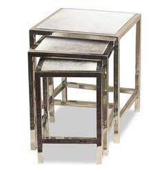 Interlude Moro Modern Steel and Cowhide Nesting Tables - Set of 3 | Kathy Kuo Home