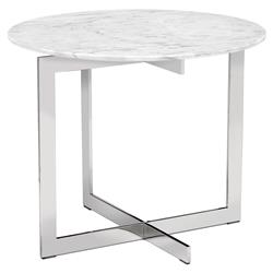 Interlude Riley Modern White Marble Stainless Steel Round Side End Table | Kathy Kuo Home