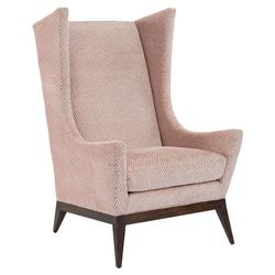 Ionia Retro Modern Pink Upholstered Wing Chair | Kathy Kuo Home