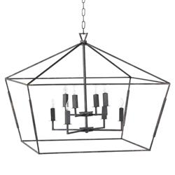 Ira Industrial Loft Black Tetrahedron Chandelier | Kathy Kuo Home