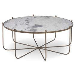 Isa Global Marble Gold Spindle Coffee Table | Kathy Kuo Home