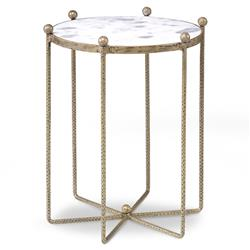 Isa Global Marble Gold Spindle End Table - 17.5D | Kathy Kuo Home