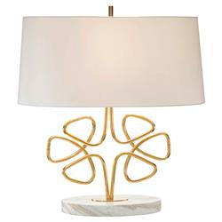Isaac Classic Gold Wire Clover Marble Table Lamp | Kathy Kuo Home