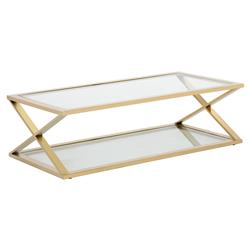 Isaacson Modern Classic Gold Glass Rectangular X-Frame Coffee Table | Kathy Kuo Home