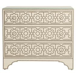 Isabella Hollywood Regency Linen 3 Drawer Nailhead Pattern Dresser | Kathy Kuo Home