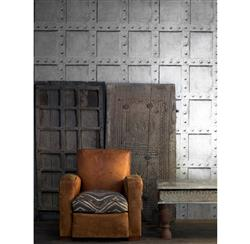 Isambard Industrial Iron Panel Wallpaper - Platinum | Kathy Kuo Home