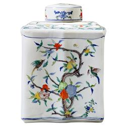 Itsuki Global Bazaar Colorful Floral Bird Square Porcelain Jar | Kathy Kuo Home