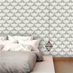 Ivory on Grey Swan Global Bazaar Removable Wallpaper | Kathy Kuo Home