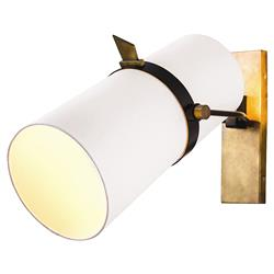 Jackson Modern Brass White Shade Adjustable Wall Sconce | Kathy Kuo Home
