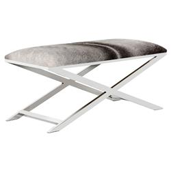 Jagger Hollywood Regency Black-and-White Cowhide Leather Silver X-Frame Bench | Kathy Kuo Home
