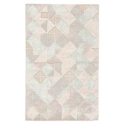 Jake Modern Beige Blue Hand Tufted Trellis Pattern Rug - 5' x 8' | Kathy Kuo Home