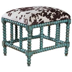 Jalen Global Bazaar Velvet Hide Turquoise Carved Ottoman | Kathy Kuo Home