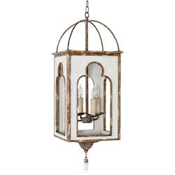 Jamel Regency Global Rustic White Trim Lantern | Kathy Kuo Home