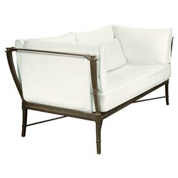 Jane Modern French Metal White Outdoor Loveseat Sofa | Kathy Kuo Home