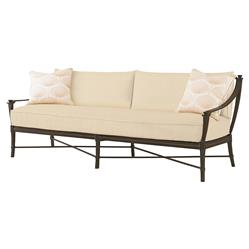 Jane Modern French Sailcloth Sand Metal Outdoor Sofa | Kathy Kuo Home