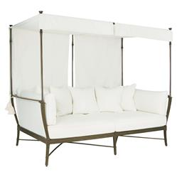 Jane Modern French White Canopy Metal Outdoor Daybed | Kathy Kuo Home