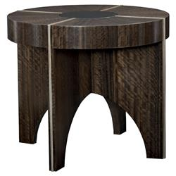 Jaron Modern Classic Brown Wood Smoked Bronze Radial Round End Table | Kathy Kuo Home