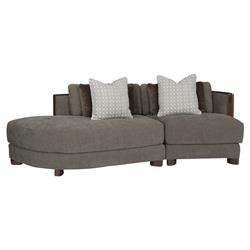 Jaron Modern Classic Slub Knit Curved 2 Piece Sectional - Left Arm Facing | Kathy Kuo Home