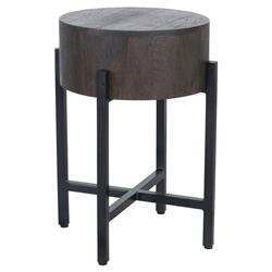 Jason Rustic Lodge Round Espresso Wood Black Iron Legs Side End Table | Kathy Kuo Home