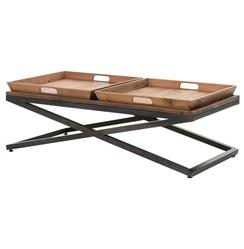 Jaxon Double Tray Top Wood Iron Industrial Rectangle Coffee Table | Kathy Kuo Home