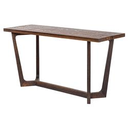 Jaxon Industrial Loft Rustic Burnt Oak Wood Console Table | Kathy Kuo Home
