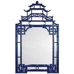 Jemaa Global Bazaar Asian Navy Lacquer Frame Chinoiserie Mirror | Kathy Kuo Home