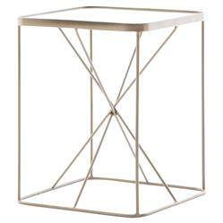 Jemma Modern Loft Brass Cross Frame End Table | Kathy Kuo Home