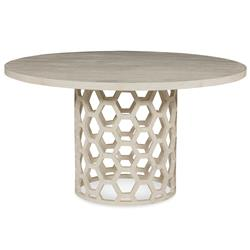 Jenny Modern White Wash Honey Comb Dining Table - 48D | Kathy Kuo Home