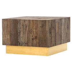 Jensen Modern Rustic Reclaimed Wood Gold Square Bunching Accent Table | Kathy Kuo Home