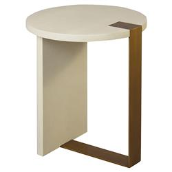Jenson Modern Classic Cream Faux Shagreen Antique Brass Round Side End Table | Kathy Kuo Home