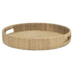 Jib Coastal Wrapped Rope Seagrass Round Tray - S | Kathy Kuo Home