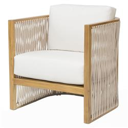 Jibe Modern Coastal Beige Rope Teak Outdoor Lounge Chair | Kathy Kuo Home