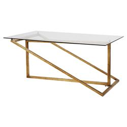 Jill Modern Minimal Gold Iron Glass Coffee Table | Kathy Kuo Home