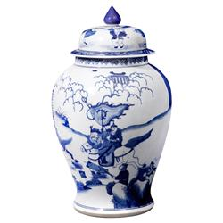 Jing Global Blue Warrior Motif Hand Painted Porcelain Temple Jar | Kathy Kuo Home
