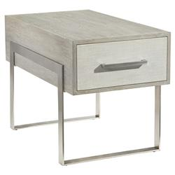 John Richard Modern Classic Ayr Grey Oak White Steel Base Nightstand | Kathy Kuo Home