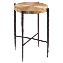 John Richard Modern Classic Black Oxidized Gold Side End Table | Kathy Kuo Home