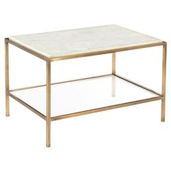John Richard Modern Classic Calcite Antique Brass Rectangular Side Table | Kathy Kuo Home