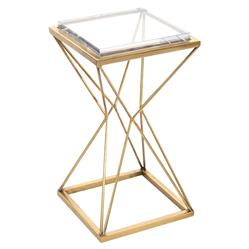 John Richard Modern Classic Geometric Antique Brass Acrylic Top Drink Table | Kathy Kuo Home